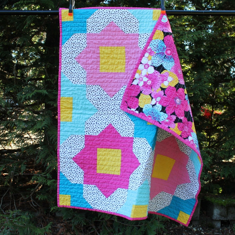 Large Flower Baby Girl Quilt Handmade Crib bedding Pink image 0