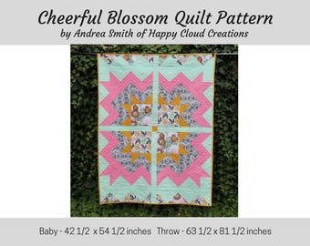 DIGITAL PDF Cheerful Blossom Quilt Pattern, Baby, Crib,Toddler, lap size, half square triangles, flying geese, easy pattern, throw quilt