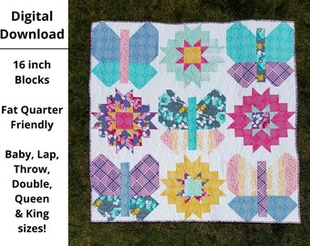 DIGITAL PDF Butterflies and Blooms Quilt Pattern, Baby, Lap, Throw, Double, Queen, King size, digital, modern quilt