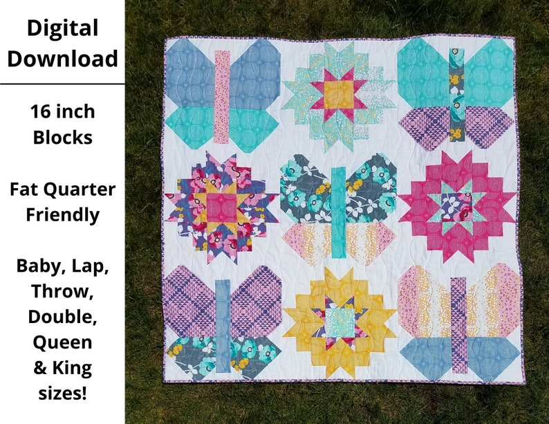 DIGITAL PDF Butterflies and Blooms Quilt Pattern Baby Lap image 0