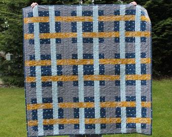Modern Plaid Baby Quilt, Handmade Boy Quilt, Dusty Navy, Mustard, light aqua, white and grey, patchwork quilt