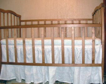 Linen Crib Fitted Sheet White ECO