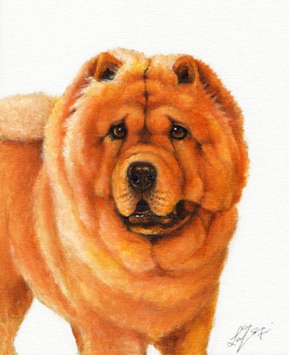Original DOG Oil Portrait Painting CHOW