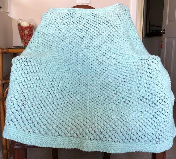 NEW Handmade PASTEL GREEN Knit Crochet BABY Afghan Blanket AQUA MINT Newborn