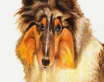 Original DOG Oil Portrait Painting COLLIE SHEEPDOG Artwork from Artist