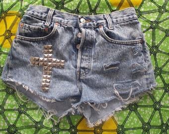 Pyramid Studded High Waisted Blue Vintage Cross Levi Denim Shorts