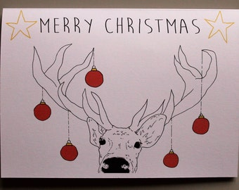 Animal Christmas Card - Reindeer- Hand drawn and printed in the UK