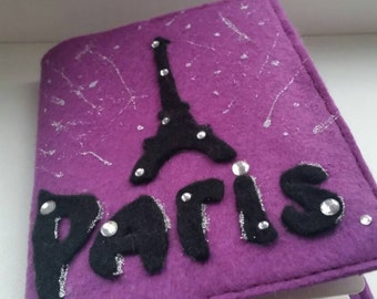 Handmade bright unusual exclusive accessory case Black classic cover with the beads design holder with the design Felt Passport cover