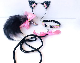 f9f51a77a4d Sexy Black Pink Kitten set Bdsm Sexy Kitty Costume Faux Fur Anal Tail with  Bow