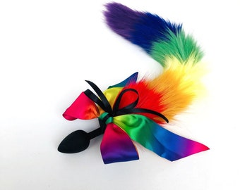 0d44746bf79 Faux Fur Rainbow Tail with Bow Butt Anal Silicone Plug. Sexy Bdsm Romance  Sex Toy Funny Adult Product Cosplay Unicorn Pet Play Bdsm