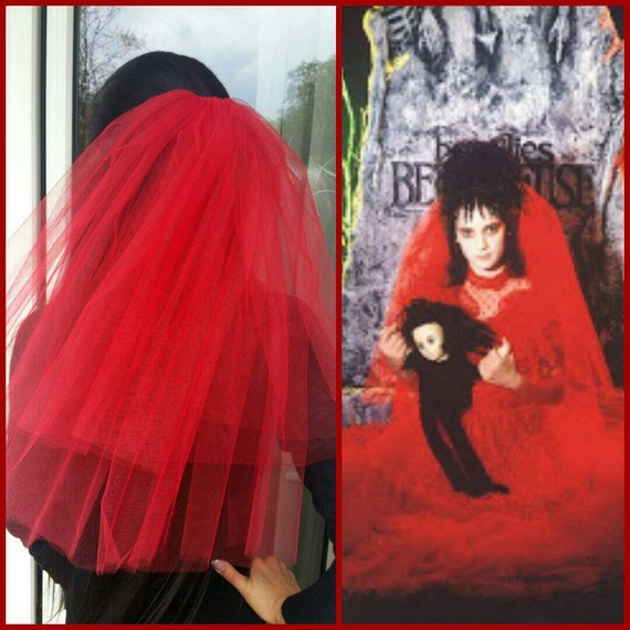Halloween Party Veil 2 Tier Red Halloween Costume Idea Lydia Etsy