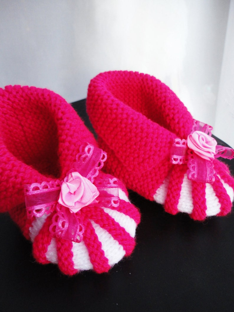 3b8b9888b20cd Hand knit baby girl boots bright pink color, 6 to 12 month size, foot - 4  1/2 inches