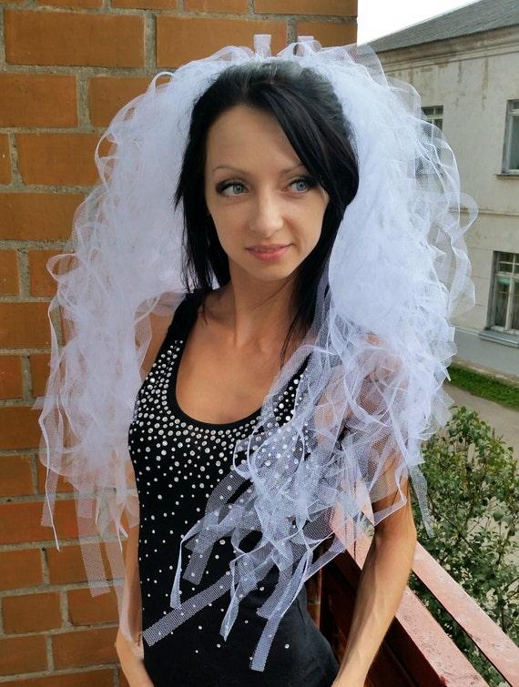 White Luxury Bachelorette Party Veil Long Length Las Vegas Etsy