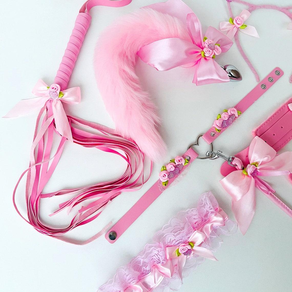 Sexy Pink Kitty set Cup Bdsm Sexy Kitten Costume. Bdsm Pet