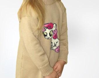 Knitted merino wool dress/Tunic/My little pony/Cashwool