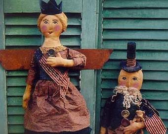 E-Pattern PDF Instant Download Primitive Folk Art Craft Sewing Pattern Americana Uncle Sam and Lady Liberty Dolls
