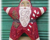 The Country Cupboard Primitive Folk Art Hooked Rug Hooking Rustic Farmhouse Christmas Holiday Decor Santa Star Paper Pattern DIY Craft