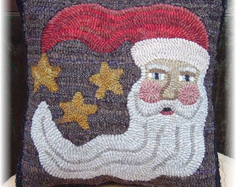 Instant Download Santa in the Moon Pillow Rug Hooking or Wool Applique E-Pattern Christmas Decor