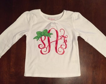 Personalized Christmas monogram shirt for girls