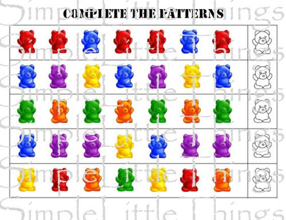 Counting Bears Pattern Activity Diy Printables For Toddlers Etsy