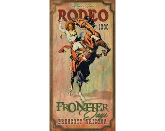 POSTER PRESCOTT ARIZONA RODEO BRONC RIDING HORSE COWGIRL VINTAGE REPRO FREE S//H