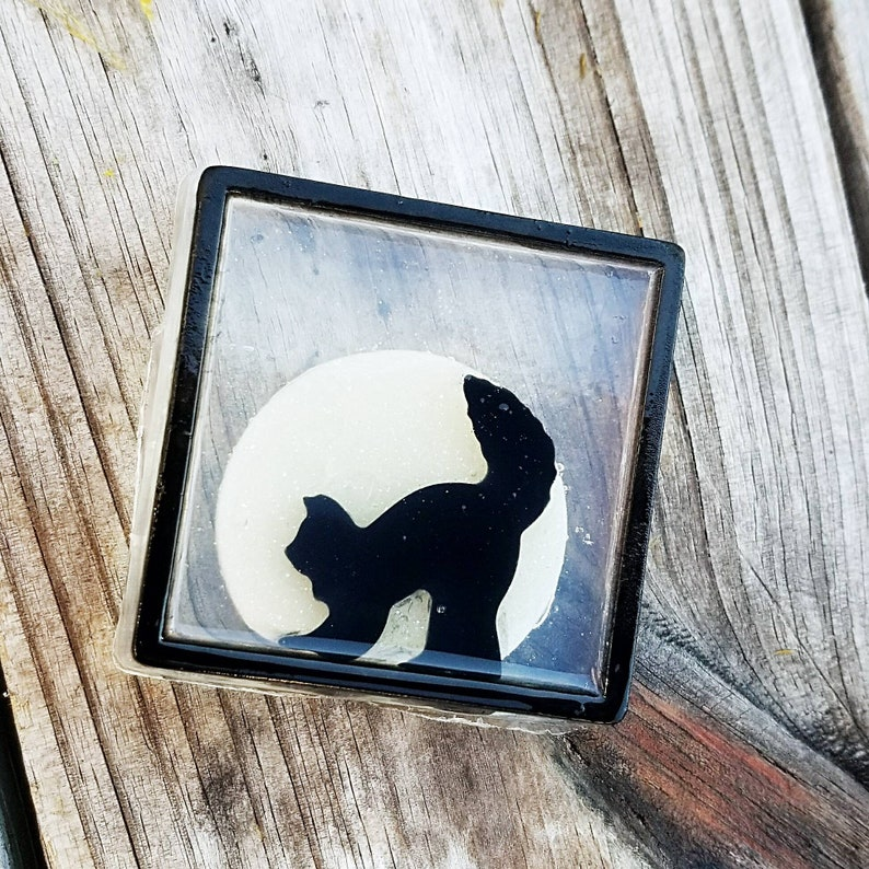 Witch's Window Soap  Halloween Soap  Black Cat  Moon image 0