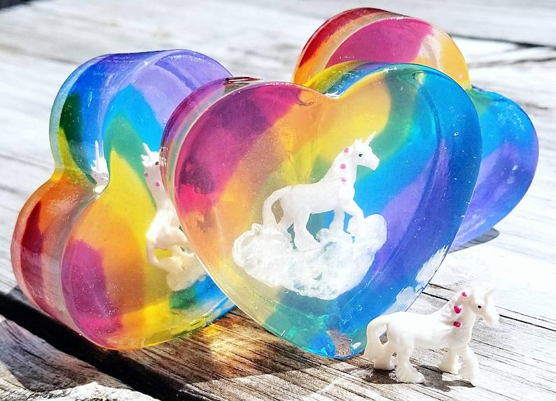 Rainbow Heart Unicorn Soap  Cloud Unicorn Soap  Sweet Apple image 0