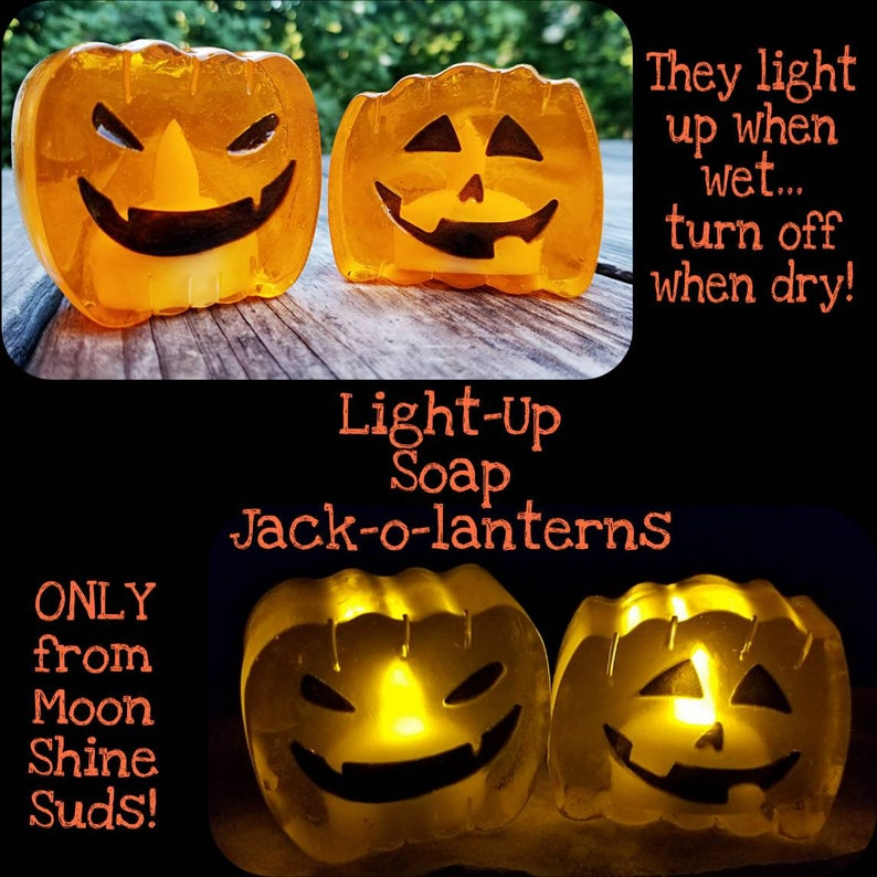 Flickering Jack-o-lantern Soaps  Water Activated Light Up image 0