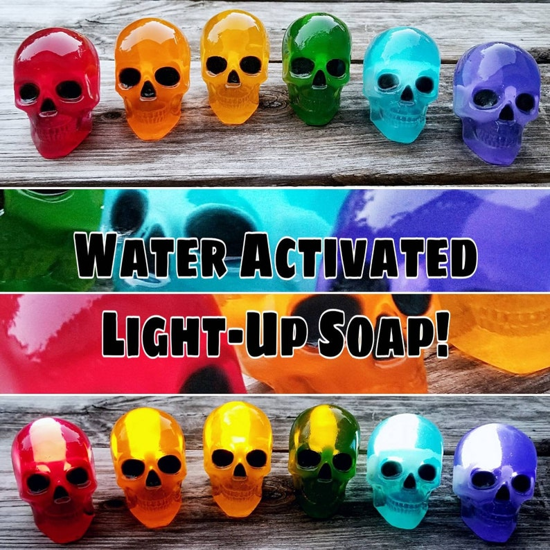 Light Up Crystal Skull Soap  Water Activated Skeleton Soap  image 0