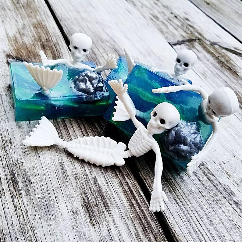 Skeleton Mermaid Toy Soap  Halloween Soap  Siren Soap  image 0