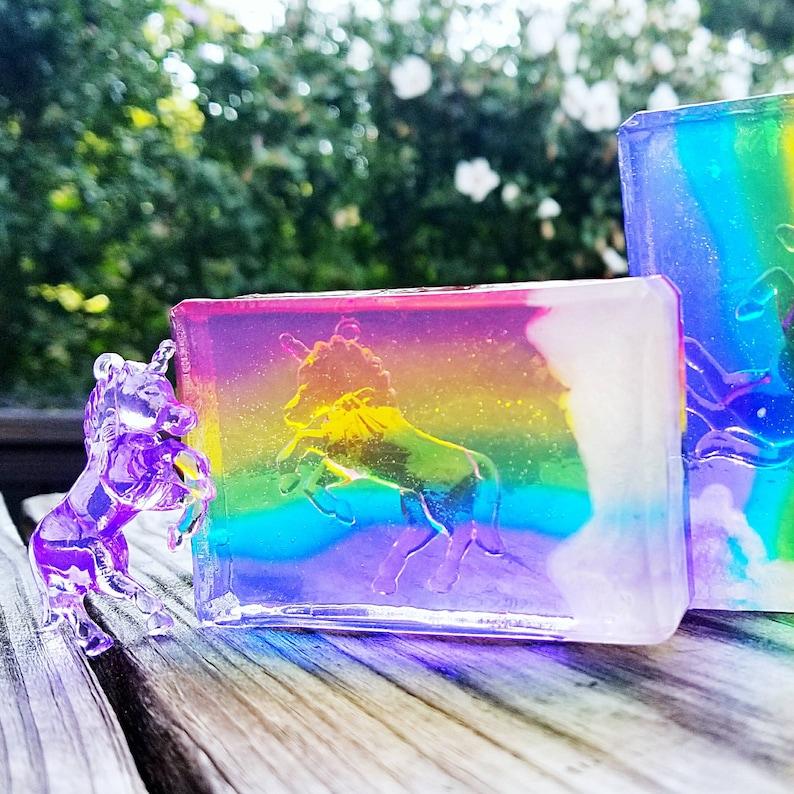 Rainbow Crystal Unicorns Necklace Soap  Pride Ponies Soap  image 0