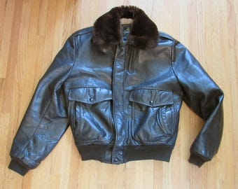 1980s Vintage Cooper Leather Bomber G1 Style Flight Brown Talon Zipper Jacket Small