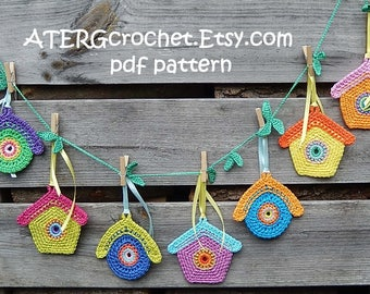 Crochet pattern BIRDHOUSE GARLAND by ATERGcrochet
