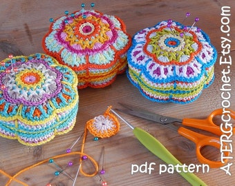 Crochet pattern PINCUSHION  'flower' by ATERGcrochet