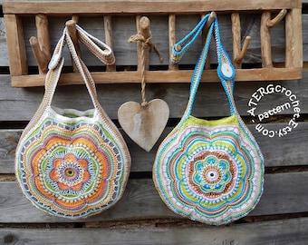 Crochet pattern Boho Flower Slouch Bag by ATERGcrochet