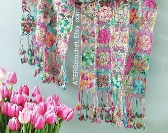 Crochet pattern Flower square shawl by ATERGcrochet