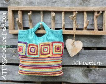 Crochet pattern SQUARE STRIPED BAG by ATERGcrochet