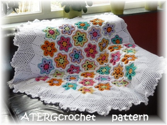Crochet Pattern Hexagon Flower Plaidafghan By Atergcrochet Etsy