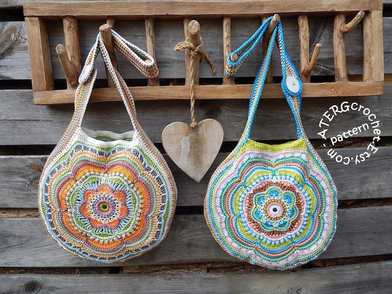 Crochet pattern Boho Flower Slouch Bag by ATERGcrochet image 0