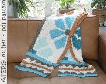 Crochet pattern AZTEC C2C flower shawl by ATERGcrochet