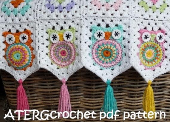 Crochet Pattern Owl Granny Square Baby Blanket By Atergcrochet Etsy