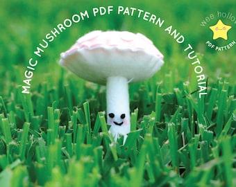 Magic Mushroom PDF Pattern and Tutorial with High Quality Photos, Felt Mushroom Plushie PDF Sewing Pattern