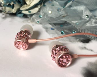New Arrival Sparkle Swarovski Crystal Earphone Headphone Earbuds Handsfree with Microphone Black Pink Silver Gold