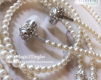 Beautiful Unique Luxurious Pearls Rhinestones Necklace Bling Sparkle Earphone Headphone Earbuds W/ Mic For iPhone Samsung Universal Size 3.5