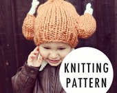 KNITTING PATTERN: Knit Turkey Leg Hat - 4 Sizes Available - Adults, Kids, Toddler, Baby - Beanie Toque Turkey Trot