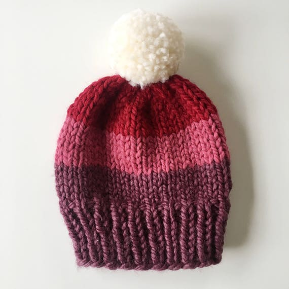 df6f4ef1369 Baby Tri-Color Stripe Knit Hat in Purple Pink and Red with