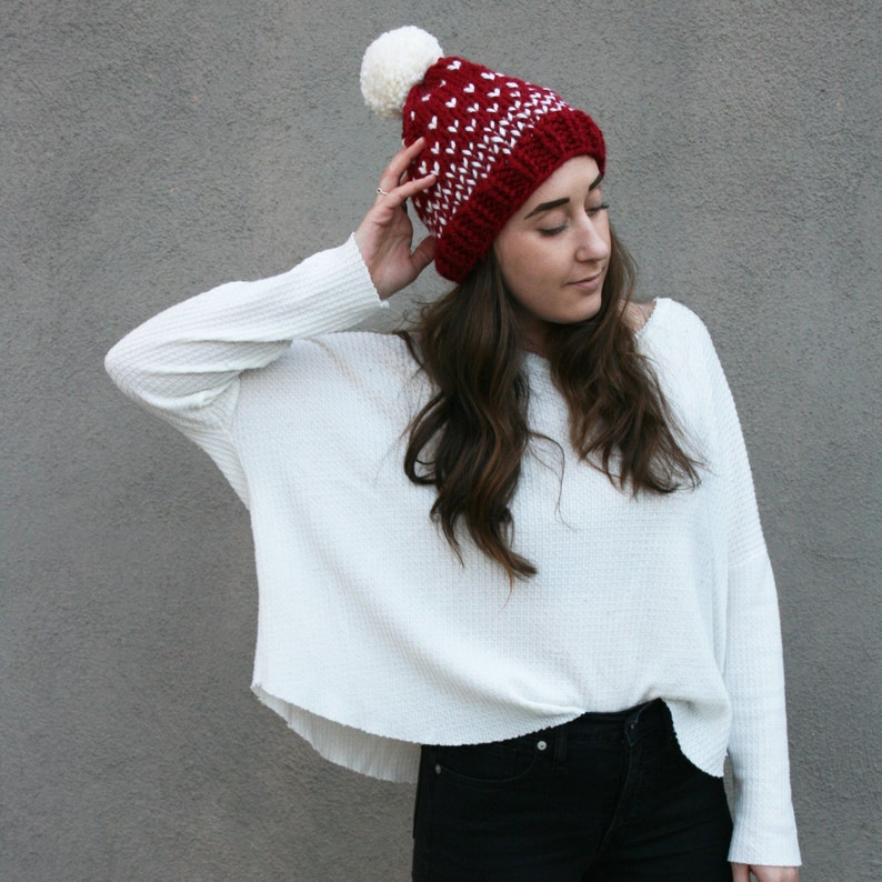014b3f73706 Red Chunky Knit Winter Hat Toque Beanie with White Polka Dot