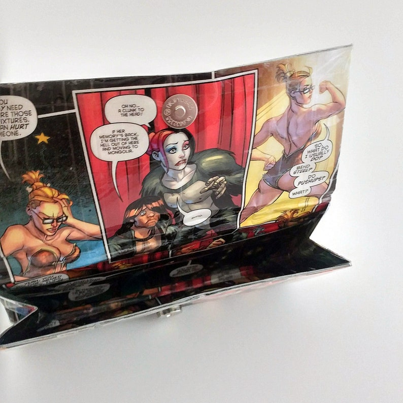 Cool Gifts Under 20 Upcycled Comic Book Wallet Unique Wallets for Women Harley Quinn /& Power Girl Gift for Her