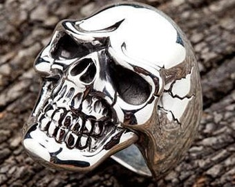 554204273a Skull Ring, Heavy Men's Ring, Heavy Metal, rock and roll rings, rock n roll  jewelry, sterling silver by SterlingMalee