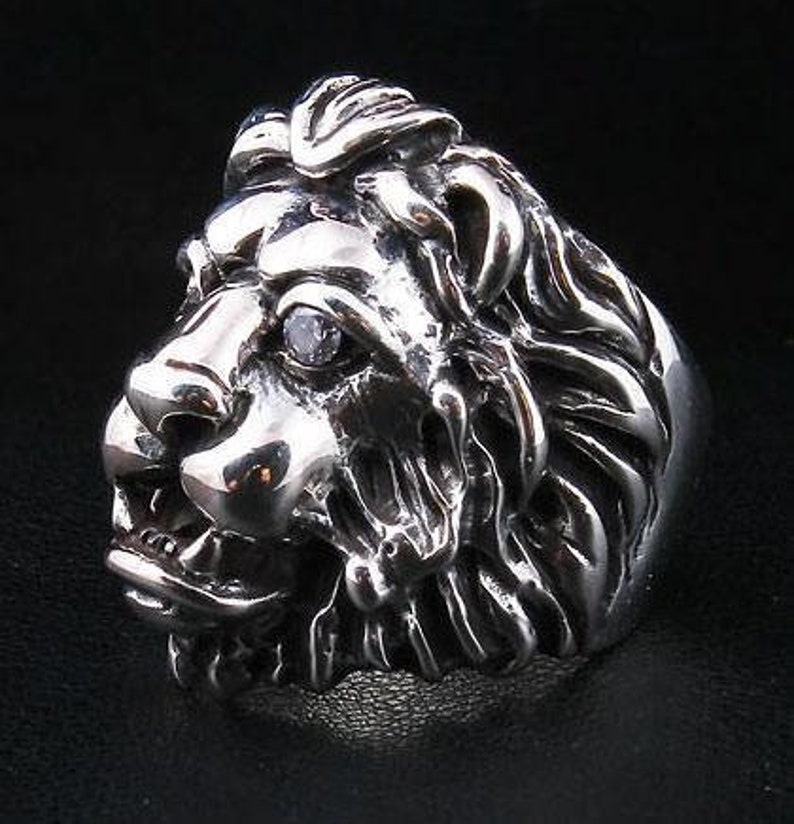 Lion Head Ring Silver Men/'s Ring 925 Sterling Silver Ring  by SterlingMalee Silver Animal Ring